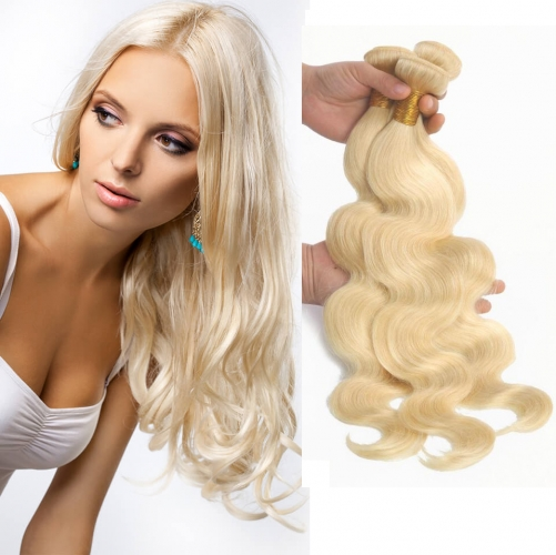 8''-28'' 3 Bundles Brazilian Blonde #613 Color Silky Body Wave Virgin Remy Human Hair Weft