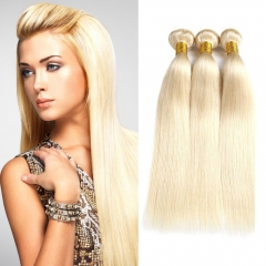 8''-28'' 3 Bundles Peruvian Blonde #613 Color Silky Straight Virgin Remy Human Hair Weft