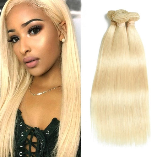 8''-28'' 3 Bundles Indian Blonde #613 Color Silky Straight Virgin Remy Human Hair Weft