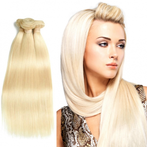8''-28'' 3 Bundles Malaysian Blonde #613 Color Silky Straight Virgin Remy Human Hair Weft