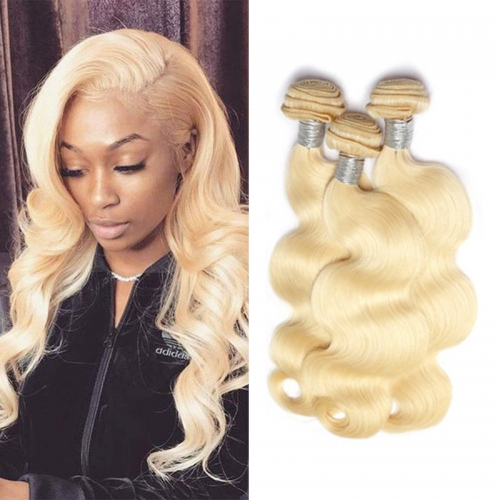 8''-28'' 3 Bundles Peruvian Blonde #613 Color Silky Body Wave Virgin Remy Human Hair Weft
