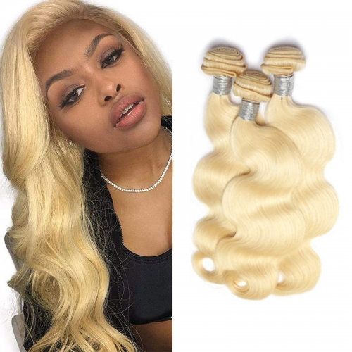 8''-28'' 3 Bundles Indian Blonde #613 Color Silky Body Wave Virgin Remy Human Hair Weft