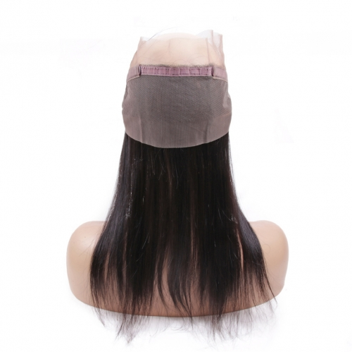 Virgin Hair Straight Pre-Plucked 360 Lace Frontal Closure With Baby Hair Natural Hairline