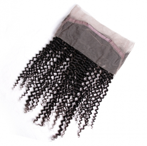 Virgin Hair Kinky Curly Pre-Plucked 360 Lace Frontal Closure With Baby Hair Natural Hairline