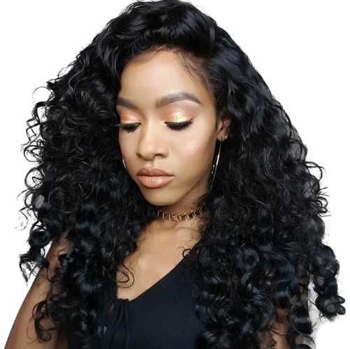 Loose Wave Black Lace Front Virgin Remy Human Hair Wigs For African American Women with baby hair
