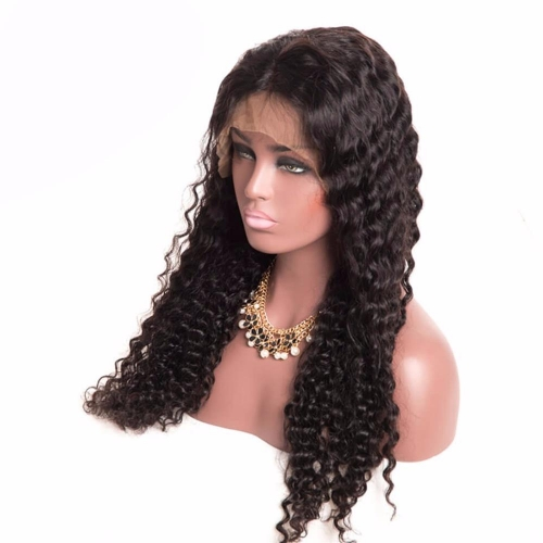 Deep Wave Black Lace Front Virgin Remy Human Hair Wigs For African American Women with baby hair