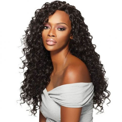 Deep Wave Long Lace Front Virgin Remy Human Hair Wigs For Black Women with baby hair