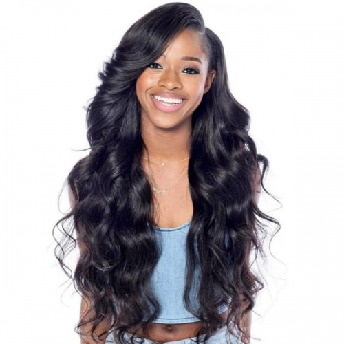 Black Body Wave Ex-Long Lace Front Virgin Remy Human Hair Wigs For Black Women with baby hair Pre-Plucked Hairline