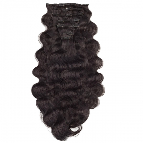 #1B Off Black Body Wave Clip In Human Hair Extensions Full Head 100% Remy Hair