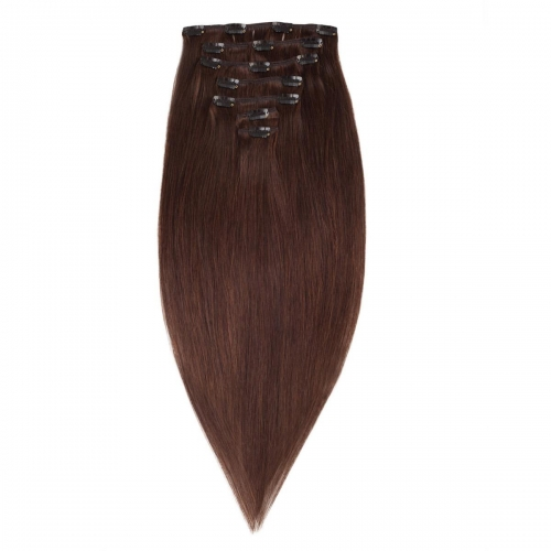 #2 Dark Brown Straight Clip In Human Hair Extensions Full Head 100% Remy Hair