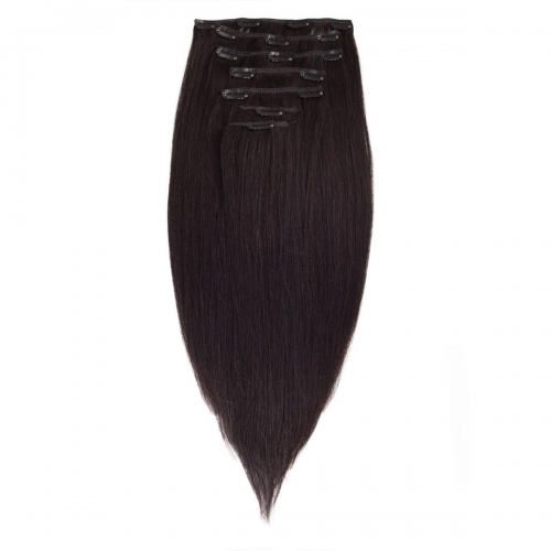 #1B Off Black Straight Clip In Human Hair Extensions Full Head 100% Remy Hair