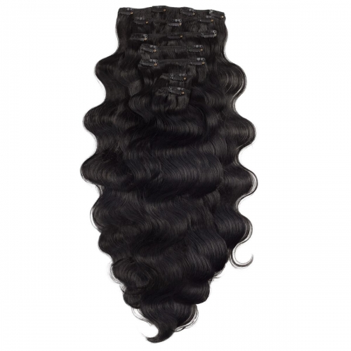 #1 Jet Black Body Wave Clip In Human Hair Extensions Full Head 100% Remy Hair