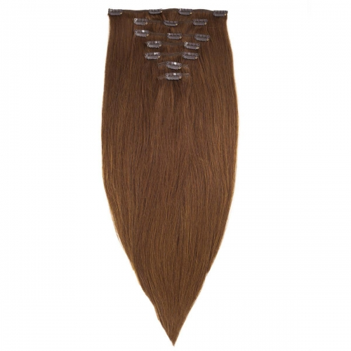 #8 Ash Brown Straight Clip In Human Hair Extensions Full Head 100% Remy Hair
