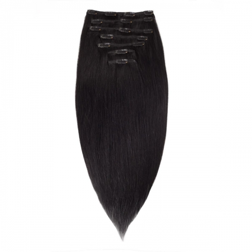 #1 Jet Black Straight Clip In Human Hair Extensions Full Head 100% Remy Hair