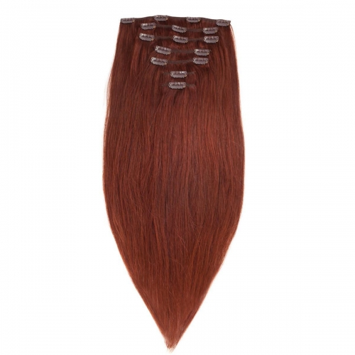#33 Dark Auburn Straight Clip In Human Hair Extensions Full Head 100% Remy Hair