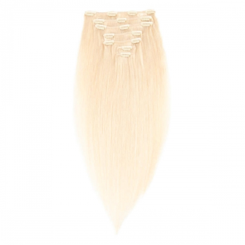 #613 Bleach Blonde Straight Clip In Human Hair Extensions Full Head 100% Remy Hair