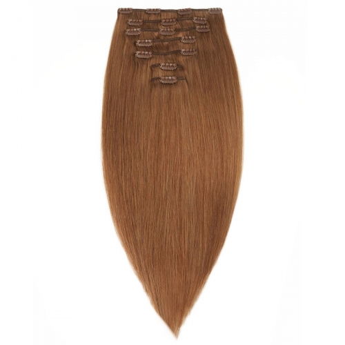 #6 Chestnut Brown Straight Clip In Human Hair Extensions Full Head 100% Remy Hair