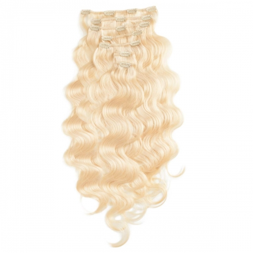 #613 Bleach Blonde Body Wave Clip In Human Hair Extensions Full Head 100% Remy Hair