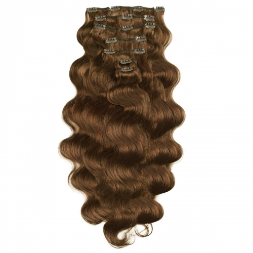 #8 Ash Brown Body Wave Clip In Human Hair Extensions Full Head 100% Remy Hair