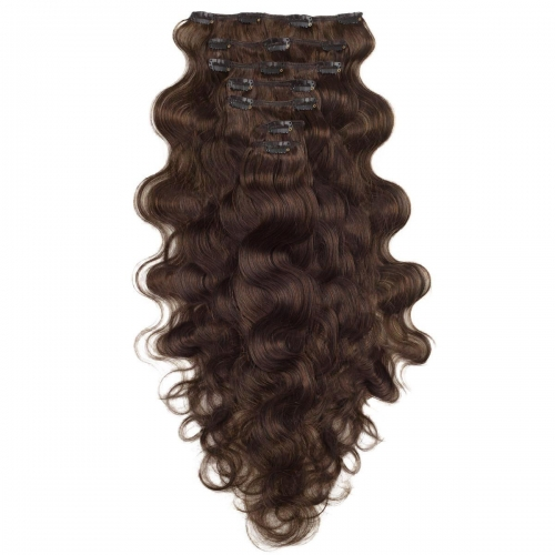 #2 Dark Brown Body Wave Clip In Human Hair Extensions Full Head 100% Remy Hair