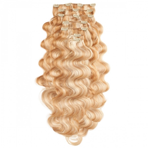 #27/613 Strawberry and Bleached Blonde mix Body Wave Clip In Human Hair Extensions Full Head 100% Remy Hair