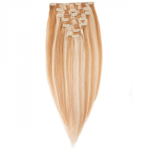#27/613 Strawberry and Bleach Blonde Mix Straight Clip In Human Hair Extensions Full Head 100% Remy Hair