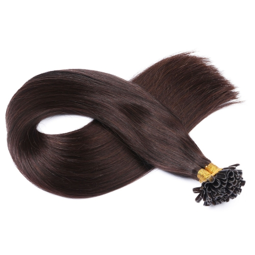 #2 Dark Brown 50pcs U-Tip Human Hair Extensions Nail Keratin Pre-Bonded Remy Hair