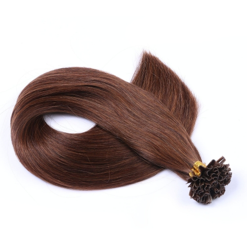 #4 Chocolate Brown 50pcs U-Tip Human Hair Extensions Nail Keratin Pre-Bonded Remy Hair