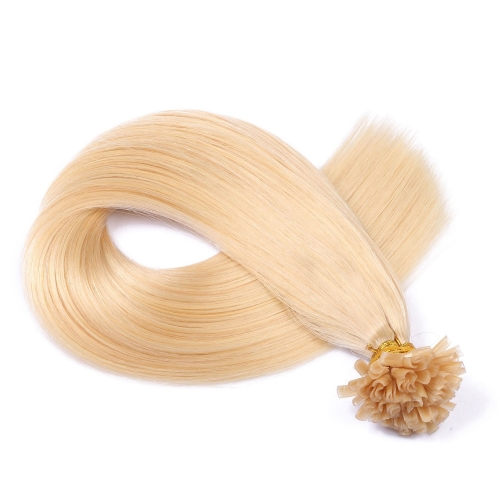 #613 Bleach Blonde 50pcs U-Tip Human Hair Extensions Nail Keratin Pre-Bonded Remy Hair