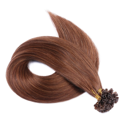 #6 Chestnut Brown 50pcs U-Tip Human Hair Extensions Nail Keratin Pre-Bonded Remy Hair