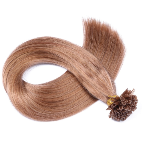 #27 Strawberry Blonde 50pcs U-Tip Human Hair Extensions Nail Keratin Pre-Bonded Remy Hair