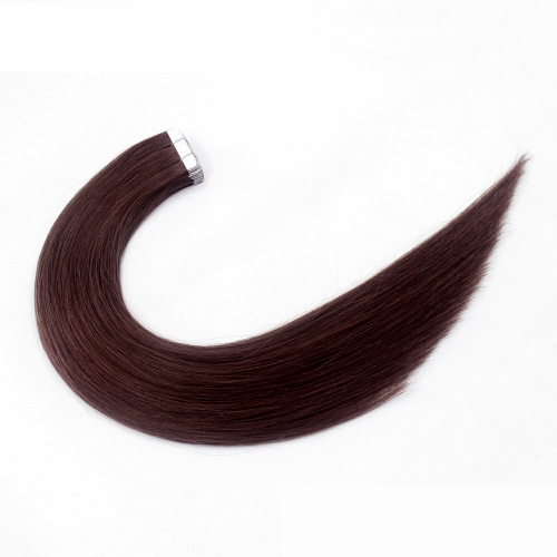 #4 Chocolate Brown 10pcs Tape In Human Hair Extensions PU Seamless Skin Remy Hair