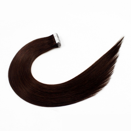 #2 Dark Brown 10pcs Tape In Human Hair Extensions PU Seamless Skin Remy Hair