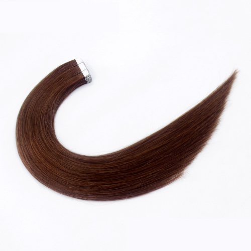 #6 Ash Brown 10pcs Tape In Human Hair Extensions PU Seamless Skin Remy Hair