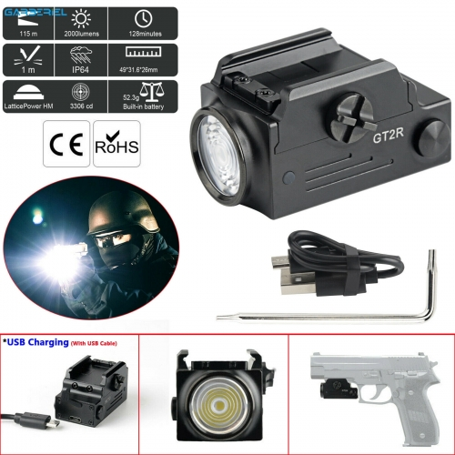 GT2R Rechargeable Tactical Gun Light 2000 Lumens Built-in Battery