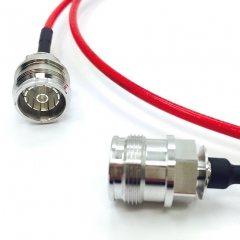 Plenum rated RG402 cable(Red) with both 4.3-10 Female connectors