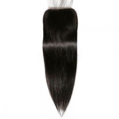 Silk Base Closure Silky Straight Free Part Brazilian Remy Human Hair 4x4 Lace Bleached Knots With Baby Hair