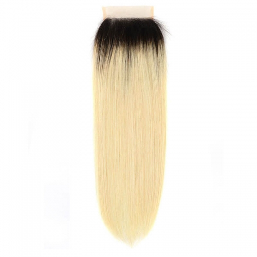 2 Tone Dark Root Straihgt Hair 1B 613 Blonde Brazilian Ombre Lace Closure 4x4 Remy Human Hair Weave Free Part Closure