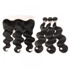 Human Hair 3 Bundles With Frontal Brazilian Body Wave 13x4 Ear to Ear Lace Frontal Closure Pre Plucked With Natural Baby Hair