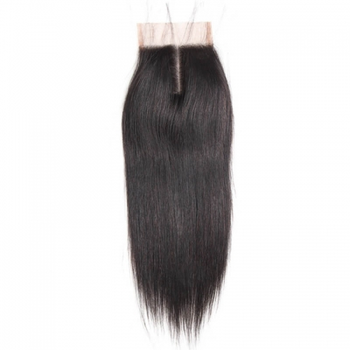 Peruvian Straight Remy hair 4x4 Lace Closure 130% Density Human Hair Natural Color Closures with Baby Hair
