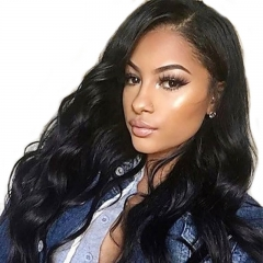 Lace Front Human Hair Wig Pre Plucked Natural Hair Line Bleached Knots 300% Density Natural Color Wig