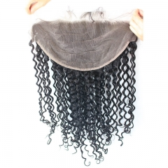 Lace Frontal 13x6 Curly Brazilian Virgin Human Hair With Baby Hair Pre-Plucked Hair Line