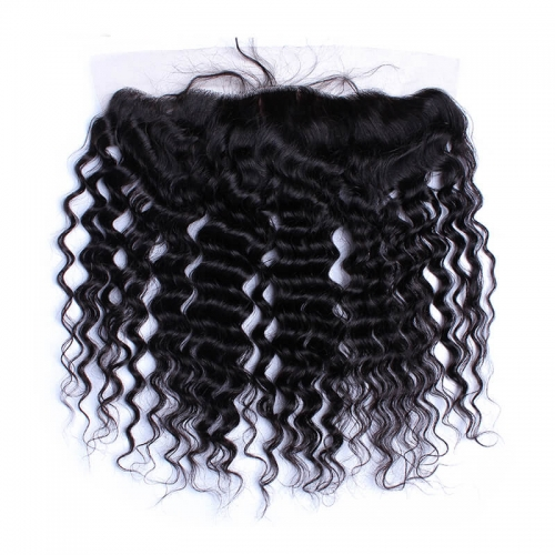 Deep Wave Silk Base Lace Frontal Closure 13x4 Brazilian  Human Hair Bleached Knots with Baby Hair