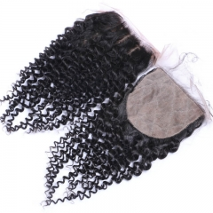 Kinky Curly  Human Hair Silk Top Closure Natural Color Closure Bleached Knots With Baby Hair