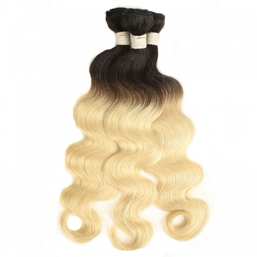 Brazilian Hair Weave Bundles 1B 613 Remy Ombre Blonde Body Wave Human Hair Bundles 1 Bundle Hair Extensions
