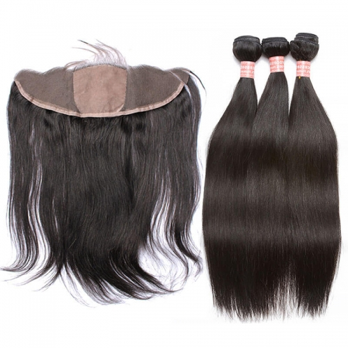 Remy Brazilian Silky Straight Hair Bundles with Silk Base Lace Frontal Closure with Baby Hair Around