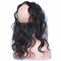 Wavy Brazilian Human Hair 360 Lace Frontal Closure With Baby Hair Hidden Knots Natural Baby Hair Around