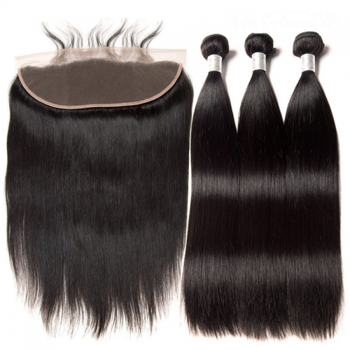 Brazilian Hair Bundles With 13X4 Lace Frontal Closure   Human Hair Weaves Straight Bundles With Frontal Can Be Dyed