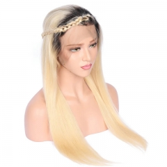 Ombre Color Silk Straight Lace Front Wig Bleached Knots  Human Hair Color 1bT613 Pre Plucked Hair Line