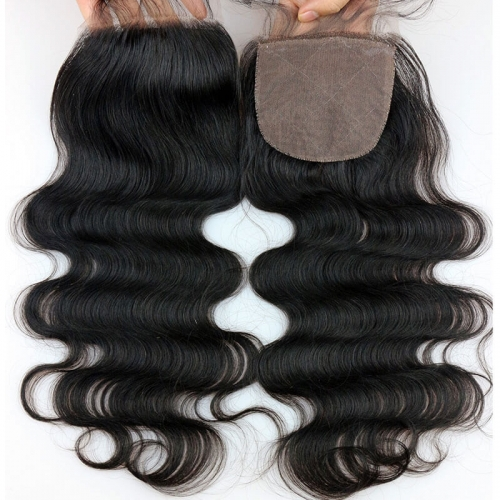 Human Hair Silk Base Closure Remy 4x4 Brazilian Body Wave Closure Free Part With Natural Hairline